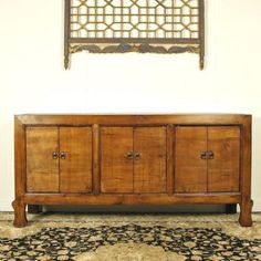 Antique Asian Chinese Furniture 77 Long Walnut Sideboard Buffet Cabinet 6 Door