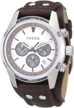 ad7faad3455 Relógio Fossil Men s CH2565 Cuff Chronograph Tan Leather Watch  Relógio   Fossil Couro