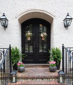 Front Door Entry Spring Decor Seasonal Simplicity Botanical Spring images ideas from Best Door Photos Collection Teal Walls, Backyard Retreat, Front Entrances, Spring Home, Entry Doors, Front Doors, Exterior Paint, Exterior Design, Door Design