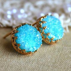 Druzy studs earrings Blue Aqua turquoise - 14k Gold filled Crown Lace setting gemstone jewelry. | Fashion And Style