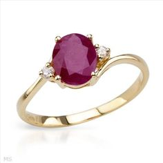 Exquisite Brand New Ring With 1.35ctw Precious Stones - Genuine  Diamonds and Ruby  Yellow Gold- Size 7 We Can Resize from 5.5 to 8.5 - Certificate Available.