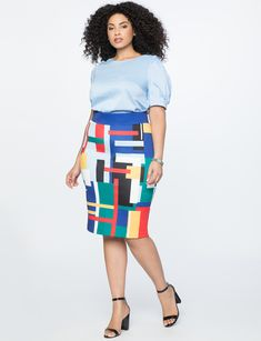 034b4d1e91e Neoprene Pencil Skirt Just My Type Print Plus Size Pencil Skirt