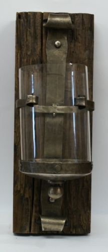Rustic Homewares Reclaimed Wood and Forged Metal Glass Lantern £28.95
