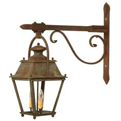 Original Antique French Copper Lantern on Hand-Wrought Iron Bracket- Another Great Inspiration Piece