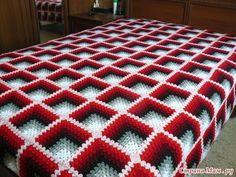 Crochet Bedspread Pattern, Crochet Motif Patterns, Crochet Curtains, Crochet Quilt, Crochet Home, Crochet Crafts, Crochet Doilies, Crochet Square Blanket, Granny Square Crochet Pattern