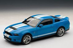 2010 Ford Mustang GT500 - Grabber Blue w/ White Stripes by AUTOart $142