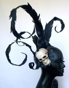 Skull Headpiece with Faux Pheasant Feathers by MissGDesignsShop, $150.00