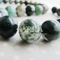Natural moss agate beads 12mm round 16inch 28 pieces by FARRAgem