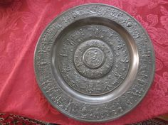 Gusseisen Schale TEMPE RANTIA Teller Platte TEMPERANTIA,ca.38,5 cm Durchmesser