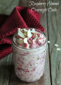Easy make-ahead breakfast or snack recipe Raspberry Almond Overnight Oats