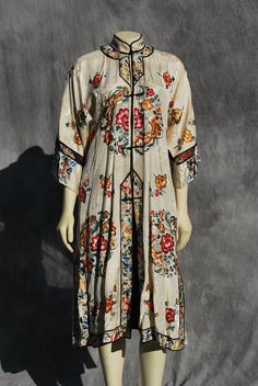 Vintage antique Chinese deco silk robe hand 1910-1920 (by thekaliman on Etsy, $600.00)