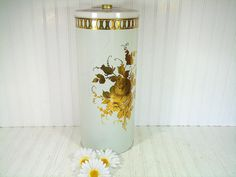 Shabby Chic Tall Round Metal Lingerie Hamper - Vintage DecoWare Lithograph ToleWare Bin - Chippy White Paint Gold Roses HollyWood Regency
