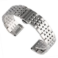 New Adjustable Mens Watch Band Strap Silver Stainless Steel  20/22/24mm Push Button Hidden Clasp Luxury High Quality Solid Link #Affiliate