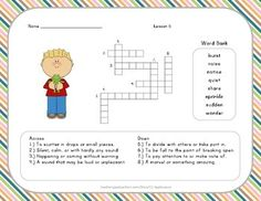 Vocabulary Crossword Puzzle - 2nd Grade - Journeys Lesson 5