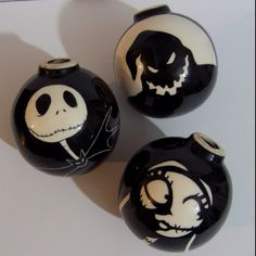 My homemade Nightmare Before Christmas; Xmas tree balls. <3