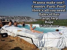 Hay pool  -  Love this idea!  Could probably use other items besides hay bales to secure the plastic, for a non-permanent pool.  Anything to cool off in this heat! :D