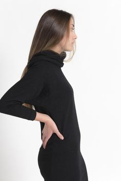 Vintage 80s Black Fitted Wool Sweater Dress with Cowl Turtleneck / VAUXSHOP.COM