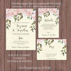 Printable wedding invitation set pink floral wedding #pinkrosesinvitation #floralweddinginvitation #printableweddinginvitation #digitalweddinginvitaiton