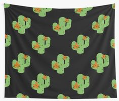 """""""Cactus with flowers"""" Wall Tapestry by Buy Cactus, Cactus Flower, Cactus Plants, Tapestry Design, Wall Tapestry, Textile Prints, Textiles, Thing 1, Sell Your Art"""