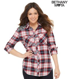 Long Sleeve Sequined Plaid Woven Shirt - Bethany Mota Collection
