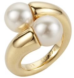Cartier Crossover Ring -- it's like a pretty version of my everyday Tiffany silver ring! Pearl Ring, Pearl Jewelry, Gold Jewelry, Fine Jewelry, Jewellery, Gold Pearl, Jewelry Gifts, Jewelry Accessories, Jewelry Design