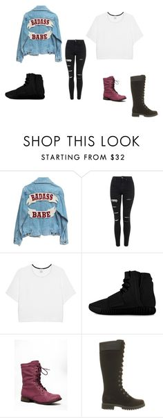 """""""Untitled #104"""" by rosesanders on Polyvore featuring Topshop, Pinko, adidas, Breckelle's, Timberland, women's clothing, women's fashion, women, female and woman"""