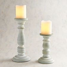 Sky Blue Wooden Pillar Candle Holders