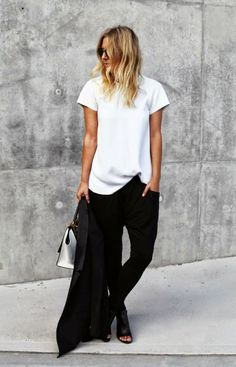 white tee + black trousers