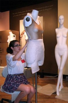 Museum intern Elizabeth Knight built out the hips on a mannequin. The wall graphic in the background is leftover from the Museum's previous costume exhibition Charles James: Genius Deconstructed. Chicago History Museum, Charles James, Museum Exhibition, Deconstruction, Conservation, Behind The Scenes, Knight, Bodycon Dress, Sculpture