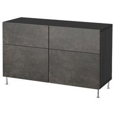 IKEA BESTA Black-Brown Kallviken/stallarp, Dark Gray Concrete Effect Storage combination w doors/drawers Frame Shelf, Plastic Foil, Ikea Family, Plastic Drawers, Drawer Runners, Knobs And Handles, Drawer Fronts, Cement