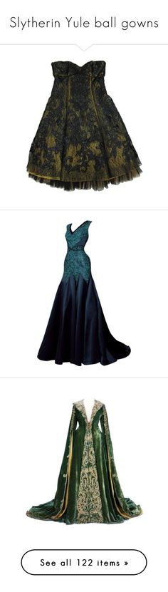 """Slytherin Yule ball gowns"" by weeby ❤ liked on Polyvore featuring dresses, skirts, vestidos, short dresses, mini dress, gowns, long dresses, blue gown, blue dress and long blue dress"