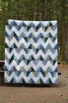 "bonniekhunter: "" Jennifer Wiltrout is sharing her Scrappy Mountain Majesties top made with recycled shirt fabrics! This is such an easy and fun quilt to make. It takes eight and a half inch squares, and the pattern is found. Batik Quilts, Blue Quilts, Scrappy Quilts, Southwestern Quilts, Plaid Quilt, Traditional Quilts, Quilt Patterns, Quilts For Men Patterns, Block Patterns"