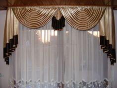 Weißer klassischer Vorhang mit Schals in champagner und braun - http://www.gardinen-deko.de/weisser-klassischer-vorhang-mit-schals-champagner-und-braun/