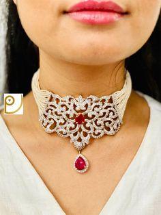 American diamonds Pendant on centre ,Polki  Necklace