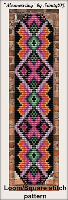 "New Loom/Square stitch bracelet pattern - ""Mesmerizing"". Please email if you are interested in the pattern Seed Bead Patterns, Peyote Patterns, Weaving Patterns, Bead Loom Bracelets, Beaded Bracelet Patterns, Miyuki Beads, Mochila Crochet, Native Beadwork, Indian Beadwork"