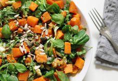Warm Sweet Potato, Rocket and Avocado Salad with Tahini Dressing - Ensalada - Vegetarian Options, Vegetarian Recipes, Healthy Salad Recipes, Whole Food Recipes, Whole Foods Vegan, Vegan Food, Vegan News, Food Food, Prison