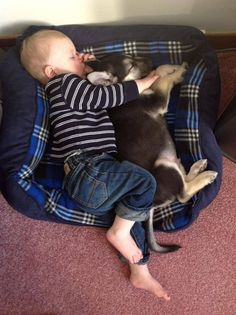 Baby and puppy #baby&puppy