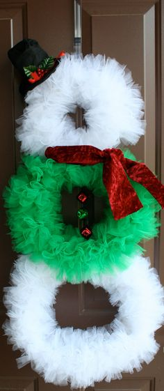 Christmas Wreath Snowman Wreath Tulle Wreath Ribbon by LuceAccents Tulle Crafts, Wreath Crafts, Diy Wreath, Christmas Projects, Holiday Crafts, Diy Crafts, Wreath Ideas, All Things Christmas, Christmas Holidays