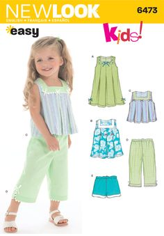 New Look Sewing Pattern 6473 Toddler Separates, Size A Toddlers' Dress or Top In 2 lengths, Capri Pants or Shorts sewing pattern. New Look pattern part of New Look Spring 2005 Collection. Pattern for 5 looks. For sizes A Sewing Patterns Girls, Kids Patterns, Clothing Patterns, Pattern Sewing, Toddler Pants, Toddler Dress, Toddler Outfits, Kids Outfits, Baby Dress