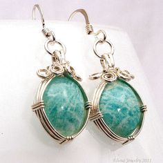 Amazonite Earrings Wire Wrapped in Sterling Silver $87.00 #etsy #handmade #gifts #fashion
