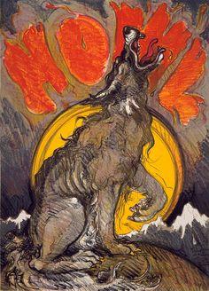 Luis Jiménez (1940–2006), Howl, 1977, color lithograph | Smithsonian American Art Museum