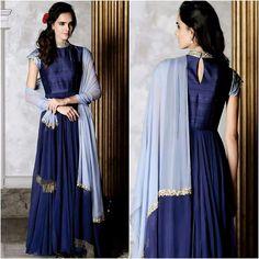 Mahima mahajan Designer Gowns, Indian Designer Wear, Navy Blue Blouse, Muslim Girls, Bridesmaid Dresses, Wedding Dresses, Dress Collection, Girl Fashion, Wrap Dress