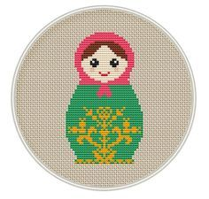 Russian Doll cross stitch pattern variant 5 by MagicCrossStitch Russian Cross Stitch, Mini Cross Stitch, Cross Stitch Fabric, Modern Cross Stitch, Counted Cross Stitch Patterns, Cross Stitching, Cross Stitch Embroidery, Embroidery Patterns, Embroidery Techniques