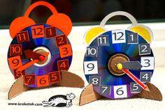 Aprender Brincando: Relógio feito com CD Reciclado!