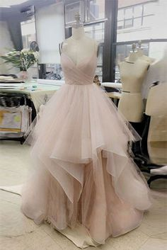 simple v neck tulle long prom dress, tulle