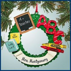 Hand-painted with perfect handwriting personalized Teacher Christmas ornaments Teacher Wreath. Teacher Gift Tags, Dance Teacher Gifts, Personalized Teacher Gifts, Teacher Christmas Gifts, Music Ornaments, Teacher Ornaments, Pink Christmas Ornaments, Personalized Christmas Ornaments, Teacher Wreaths