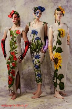 Linen dress jersey poppy flower felted aplication door galafilc