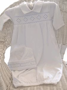 Kissy Kissy Newborn Boys White Smocked Sacque Coming Home Gown