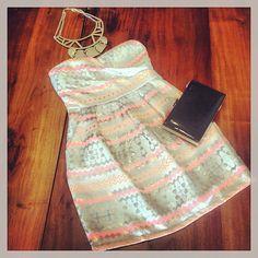 Printed Strapless Dress