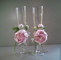 """Купить Украшения для свадебных бокалов """"Розовая пена пионов"""" - розовый, свадебные бокалы, бокалы для свадьбы"""